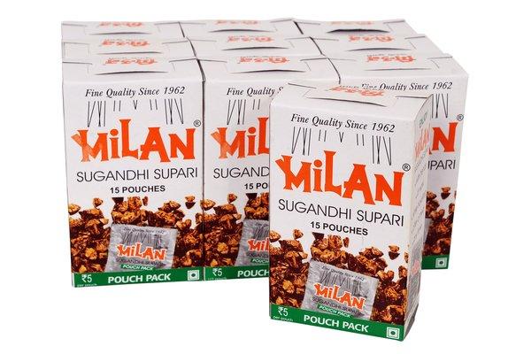 MILAN SUGANDHI SUPARI POUCH PACK 15S - PACK OF TEN.