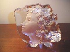 Mats Jonasson Art Glass Young Women's Face Sweden Art Sculpture Paperweight