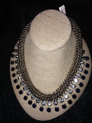 "- SOLD Lulu Frost Heavy Stainless Large Light and Dark Blue Rhinestones Designer ""Bib Style"" Necklace"