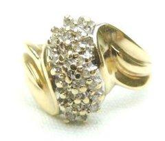 BEAUTIFUL LADIES STUNNING 10K GOLD .70 CARAT BRILLIANT CUT GEMS DIAMOND RING ROLLING SWIRL