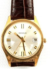 VINTAGE MENS BENRUS GOLD BEZEL AUTOMATIC WATCH WITH DATE