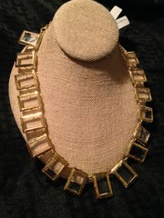 """12K Gold Plated Square Crystal Ladies """"Bib Style"""" Necklace"""