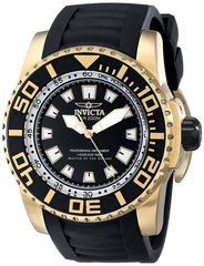 Men's 14663 Pro Diver Watch Black Polyurethane and Dial 18K Gold Plated Steel Case INVICTA PRO DIVER 14663 Men's Watch
