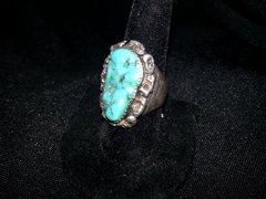 Vintage Tribal Kingman Turquoise Silver Ring Size 9 1/2 Very Cool!!