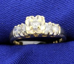 Fantastic vintage diamond engagement style ring set in 14k yellow gold