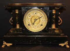 """Early Victorian Period Vintage Mantle Clock w/ Gold Gilded Face 10.5"""" X 16"""" Large Clock & Heavy!"""