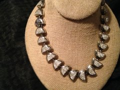 Heavy Ladies Choker / Necklace   .925 Sterling Silver  Half Circles and Cubic Zirconia