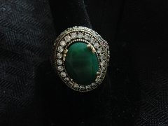 Large Emerald and Ruby Ring Size 10