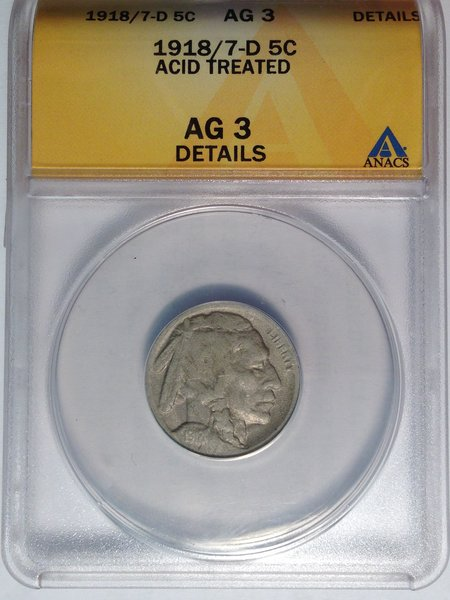 RARE 1918/7-D Buffalo Nickel ANACS AG3