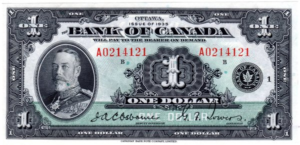 $1 1935 Bank of Canada Choice CU64 P-38