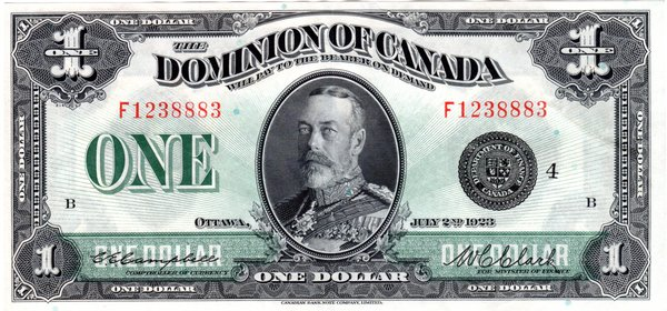 $1 1923 Dominion of Canada Large Note P-33o Choice AU55 PPQ