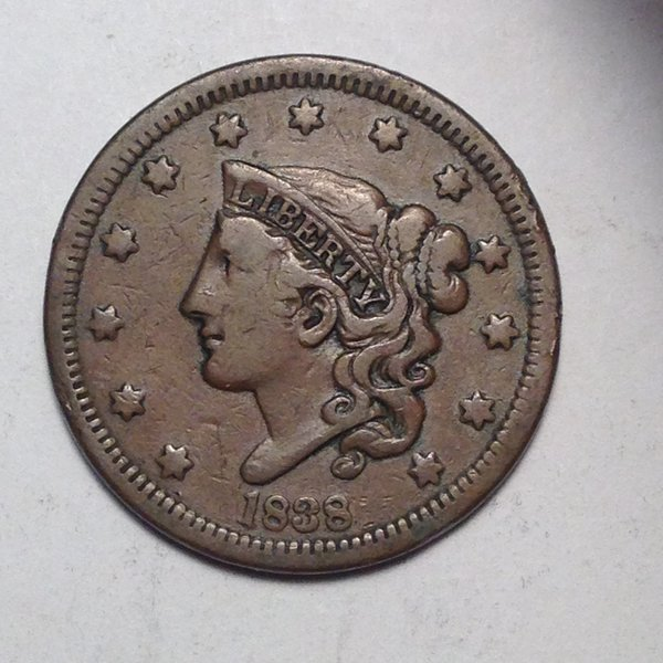 1838 LARGE CENT CORONET Choice Fine