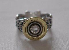 Remington Peters 410 Gauge Shotgun Shell Sterling Silver 925 Bullet Ring Filigree Swarovski Crystal Made in the USA