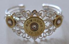 Remington 12 Gauge & 410 Gauge Shotgun Shell Bullet Bracelet Silver Plate Filigree 9 Swarovski Crystals Custom Made