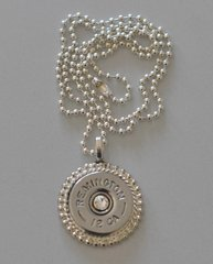 Remington 12 Gauge Nickel Shotgun Shell Bullet Silver Plate Pendant With Beaded Chain
