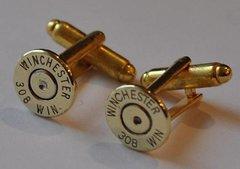 Winchester 308 Caliber Brass Bullet Casing Cufflinks Custom Made in the USA
