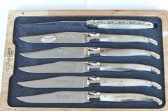 Laguiole En Aubruc 6 Piece Steak Knife Set Handmade Solid Horn Handles