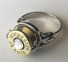 Winchester 45 Auto 1911 Pistol Bullet Ring Sterling Silver 925 Fleur-de-Lis Swarovski Crystal Custom Made in the USA Bullet Jewelry