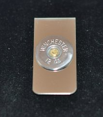 Winchester 12 Gauge Shotgun Shell Bullet Nickel Finish Money Clip Nickel Silver Custom Made