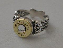 Winchester 38 Special Pistol Bullet Ring Filigree Sterling Silver 925 Swarovski Crystal Custom Made in the USA