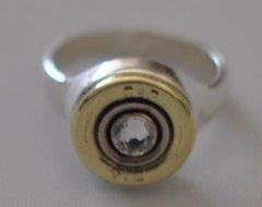 Remington Peters 410 Gauge Shotgun Shell Bullet Ring Sterling Silver 925 Swarovski Crystal Custom Made in the USA