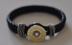 Remington 12 Gauge Shotgun Shell Black Leather Bracelet Interchangable Bullet Custom Made in the USA