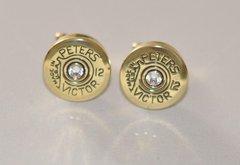 Rare Vintage Peters Victor Remington 12 Gauge Shotgun Shell Bullet Cufflinks Swarovski Crystal Custom Made in the USA