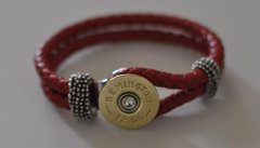 Remington 12 Gauge Shotgun Shell Red Leather Bracelet Interchangable Bullet Custom Made in the USA