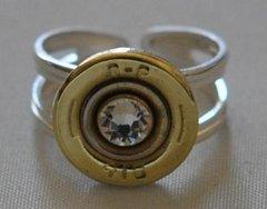 Remington Peters 410 Gauge Shotgun Shell Sterling Silver 925 Bullet Ring Adjustable Swarovski Crystal