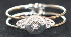 Winchester 12 Gauge Shotgun Shell Nickel Finish Bullet Bracelet Silver Plate 7 Swarovski Crystals Custom Made