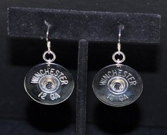 Winchester 12 Gauge Shotgun Shell Nickel Bullet Earrings Sterling Silver 925 Ear Wires Swarovski Crystal
