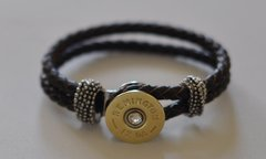 Remington 12 Gauge Shotgun Shell Brown Leather Bracelet Interchangable Bullet Custom Made in the USA