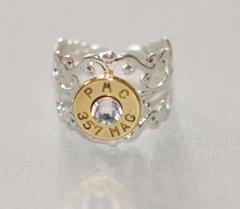 PMC 357 Magnum Pistol Bullet Ring Adjustable Silver Plate Finish Swarovski Crystal
