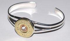 Fiocchi Italy 12 Gauge Shotgun Shell Bullet Bracelet Cuff (Silver Plate) Swarovski Crystal Custom Made USA