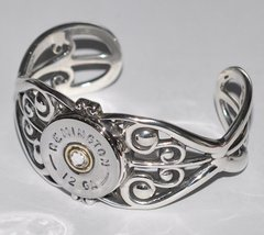 Remington 12 Gauge Shotgun Shell Bullet Bracelet Sterling Silver 925 Filigree Custom Made USA