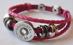 Remington 12 Gauge Shotgun Shell Pink Leather Bracelet Adjustable Interchangable Bullet Custom Made in the USA Shotgun Shell Jewelry