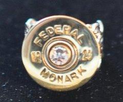 Rare Vintage Federal Monark 20 Gauge Shotgun Shell Bullet Ring Adjustable Silver Plate Swarovski Crystal