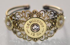 Remington 12 Gauge & 410 Gauge Shotgun Shell Bullet Cuff Bracelet With 9 Swarovski Crystals Custom Made