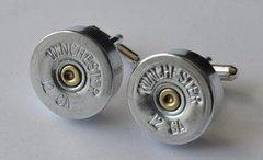 Winchester 12 Gauge Shotgun Shell Bullet Cufflinks Silver Nickel Finish With Gift Box