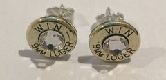 Winchester 9mm Bullet Earrings With Sterling Silver Post Swarovski Crystal Custom Made in the USA