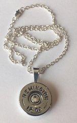Remington 12 Gauge Shotgun shell Bullet Pendant & Chain Sterling Silver 925