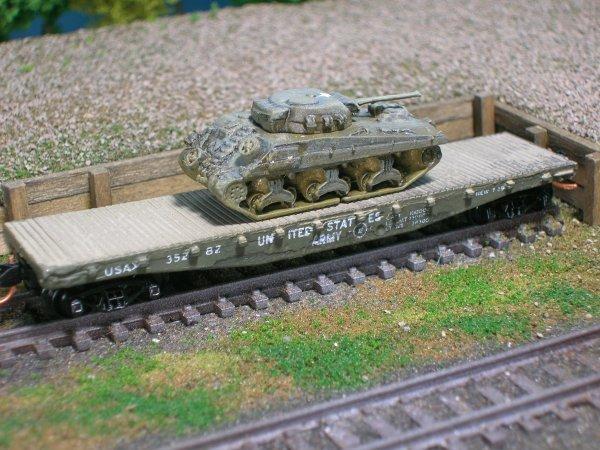 M4 Sherman Meduim Tank (Welded Hull) on US Army Tranportation Corp Flat Car