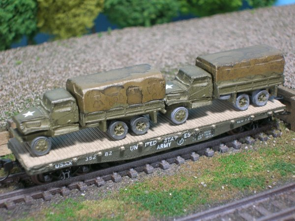 (2) 2 1/2 Ton Cargo Trucks on US Army Transportation Corp Flat Car