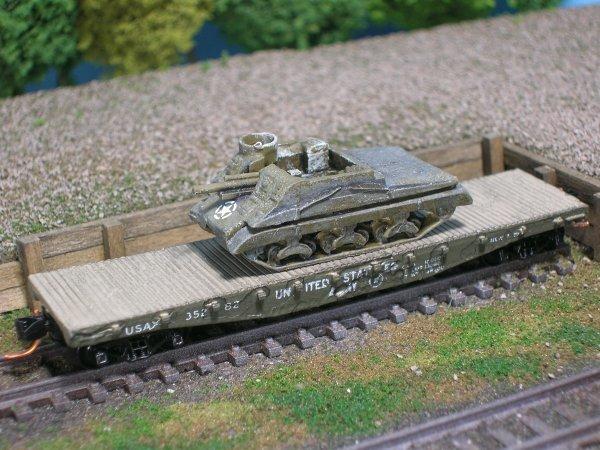 M7 Priest Self Propelled Artillery on US Army Transportation Flat Car