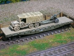 1 1/2 Ton Truck w/ Towed 105mm Artillery on US Army Transportation Corp Flat Car