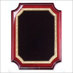 Rosewood piano finish notched corner plaque with black florentine designed plate