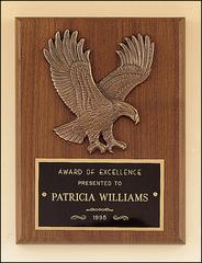 Genuine walnut plaque with Cast Eagle