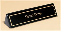 Black Piano Finish Name Desk Wedge