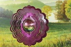 "12""  Gazing Ball Wind Spinner - Raspberry Starlight"