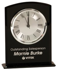 Black Glass Arch Clock with silver accents